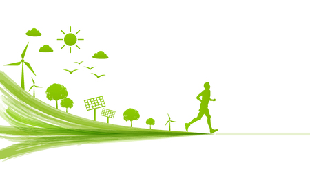 A man running for leading the green city for go green. Environmentally saving and ecology friendly concept vector illustration. Illustration