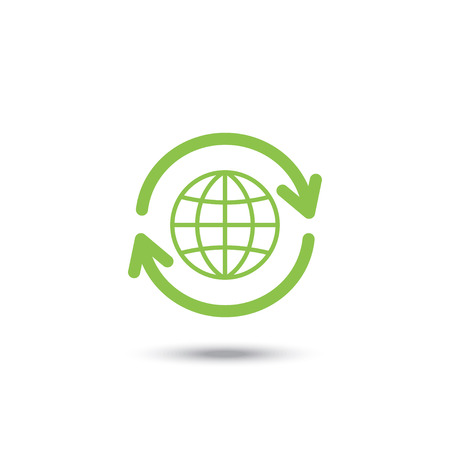 Flat icons of Global Recycle, vector illustration Ilustrace