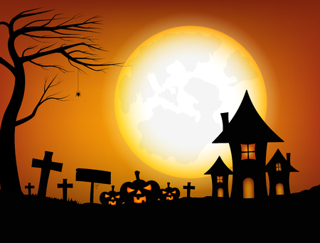 Halloween design background with spooky graveyard, naked trees, graves, Jack pumpkin, full moon and castle , Vector illustration Ilustrace