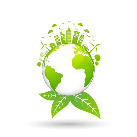 Ecology concept with green city on earth, World environment and sustainable development concept, vector illustration Ilustrace