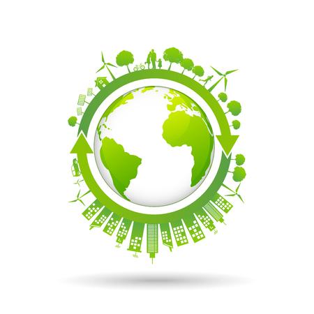 Ökologiekonzept mit grüner Stadt auf Erden, Weltumwelt- und nachhaltiges Entwicklungskonzept, Vektorillustration Vektorgrafik