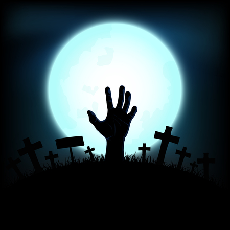 Halloween concept with zombie hand rising out from the ground in full moon night background, Vector illustration Ilustrace