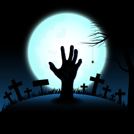 Halloween concept with zombie hand rising out from the ground in full moon night background, Vector illustration  イラスト・ベクター素材