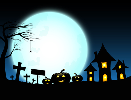 Halloween design with pumpkins and dark castle on full blue Moon background, Vector illustration