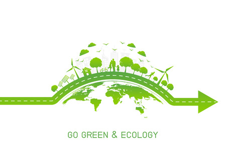 Green city on earth for Go green and Ecology friendly concept, Vector illustration Ilustrace