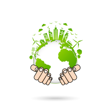 World environment and sustainable development and Ecology friendly concept with green city on earth,vector illustration