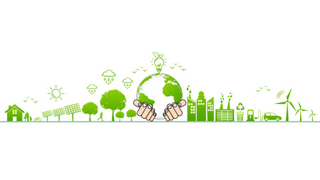 World environment and sustainable development and Ecology friendly concept with green city,vector illustration Ilustrace