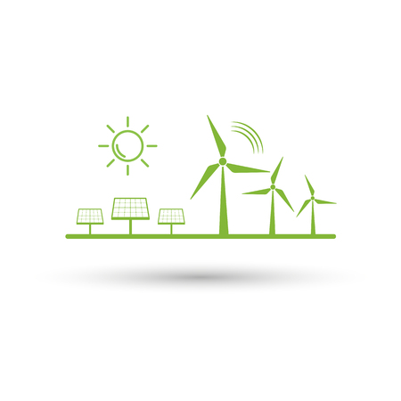 Eco energy and renewble concept with flat design icon for sustainable devlopment, Vector illuatration Ilustrace