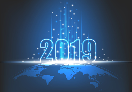 Happy New Year 2019, Futuristic technology abstract with glowing neon light on earth, shiny beam and sparkles, Vector illustration