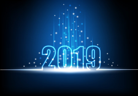 Happy New Year 2019, Futuristic technology abstract with glowing neon light with shiny beam and sparkles, Vector illustration