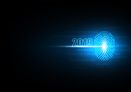 2019 Happy New year with finger print technology of security and privacy system, Vector illustration