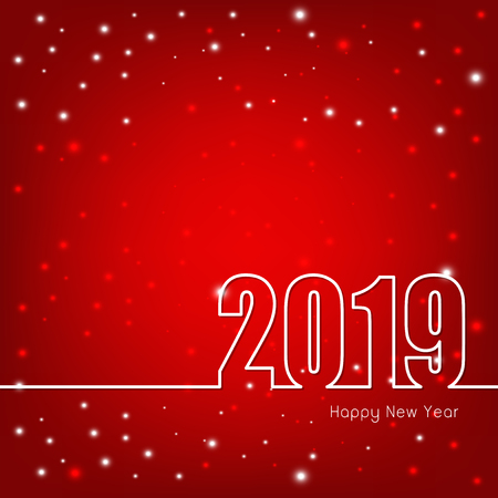 Happy New Year 2019 theme with abstract Red Christmas background, Vector illustration  イラスト・ベクター素材
