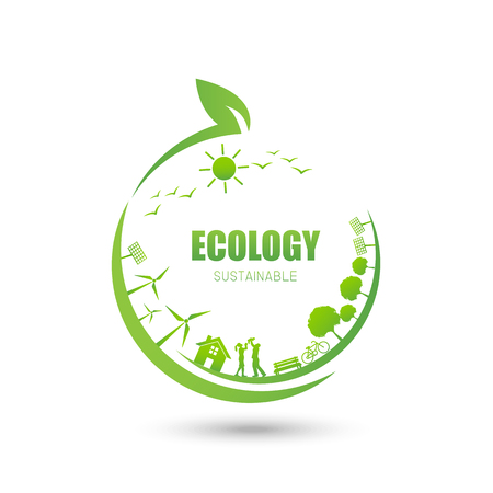 Ecology Friendly idea and sustainable concept, vector illustration  イラスト・ベクター素材