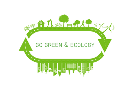 Green city on earth for Go green and Ecology friendly concept, Vector illustration Ilustração