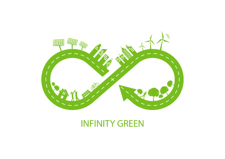 Infinity nature design for Green city and Ecology friendly concept, Vector illustration