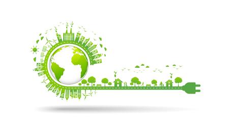 Ambiente mondiale e concetto di sviluppo sostenibile, illustrazione vettoriale