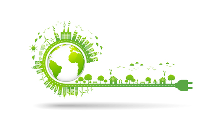 World environment and sustainable development concept, vector illustration Stock Illustratie