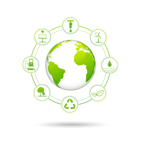 Ecology concept with renewable energy icons for world environment day and sustainable development concept, vector illustration Ilustrace