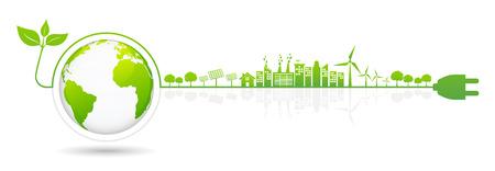 Elementi di design banner per lo sviluppo di energia sostenibile, concetto ambientale ed ecologico, illustrazione vettoriale
