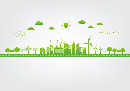 Ecology concept with green city on road, World environment and sustainable development concept, vector illustration Reklamní fotografie - 122667753