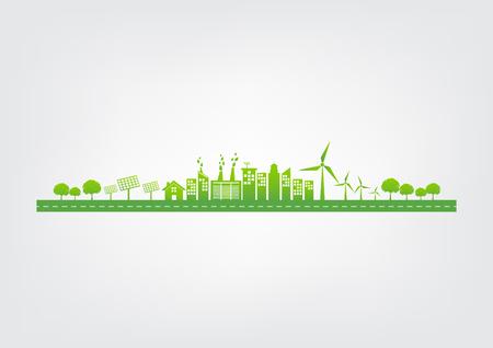Concetto di ecologia con città verde su strada, ambiente mondiale e concetto di sviluppo sostenibile, illustrazione vettoriale