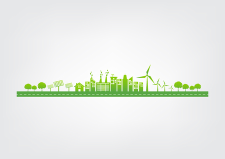 Ecology concept with green city on road, World environment and sustainable development concept, vector illustration
