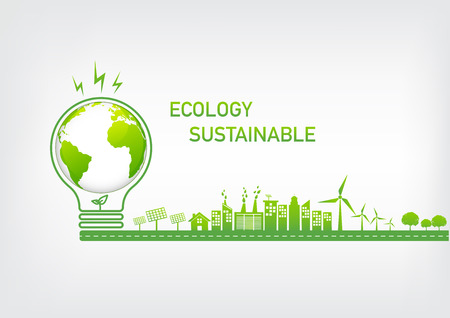 Ecology concept with green city on road, World environment and sustainable development concept, vector illustration Stock Illustratie