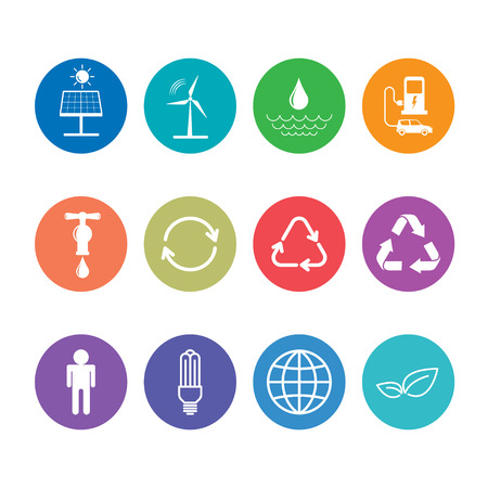 Flat design icons set for sustainable energy and Ecology concept, vector illustration