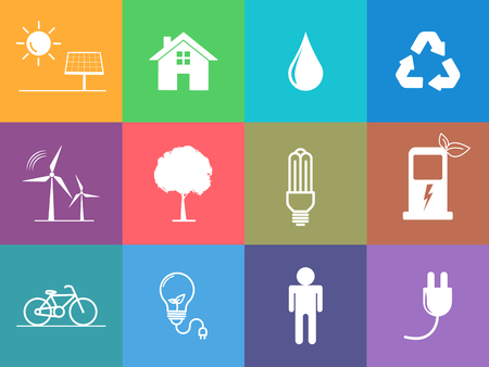 Flat design icons set of sustainable energy and Ecology concept, vector illustration Ilustrace