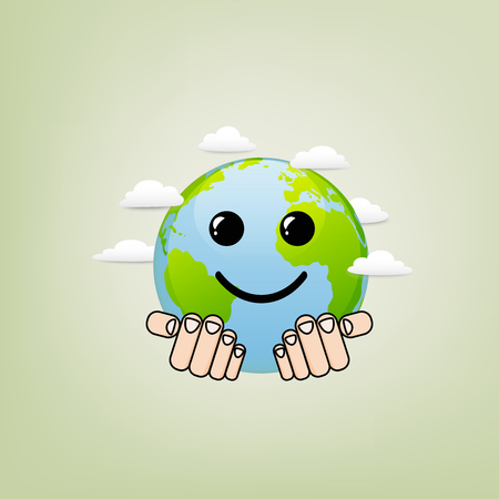 Happy Earth Day for environment safety and ecology friendly concept, vector illustration  イラスト・ベクター素材