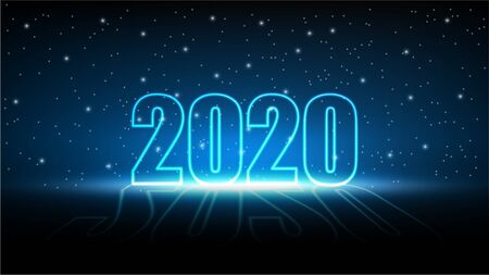 New year 2020 with Technology abstract futuristic background, MIracle star of Hi-tech digital and engineering, Vector illustration Ilustracja