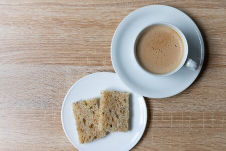 Coffee in white cup with 
