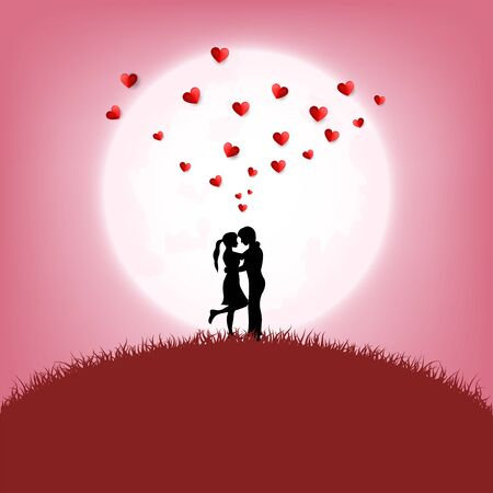 Concept of love and valentine day , Love couple hugging under light of the moon, Vector illustration