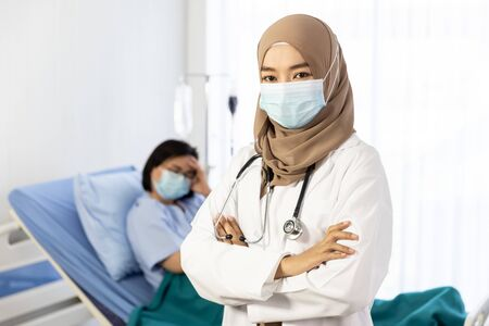 Portrait of Muslim woman doctor at hospital wearing medical mask to protect against coronavirus 2019 disease or COVID-19 global outbreak, coronavirus concept