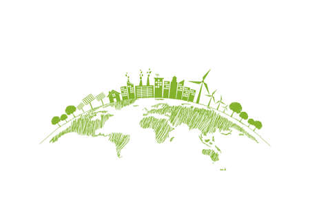 Sustainability development and World environmental concept with Green city and Ecology friendly, vector illustration