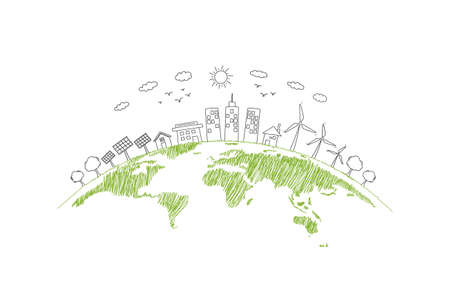 Sustainability development and World environmental concept with Green city and Ecology friendly, vector illustration Zdjęcie Seryjne - 157075979
