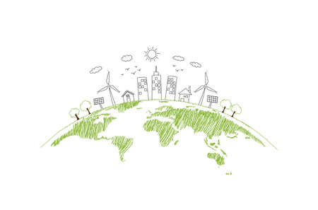 Sustainability development and World environmental concept with Green city and Ecology friendly, vector illustration Zdjęcie Seryjne - 157075983