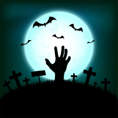 Halloween concept with zombie hand rising out from the ground and bat in full moon night background, Vector illustration Ilustracja