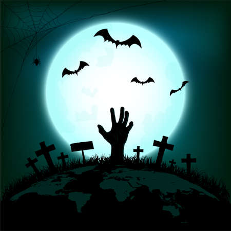 Halloween concept with zombie hand rising out from the ground of earth with bat and spider in full moon night background, Vector illustration