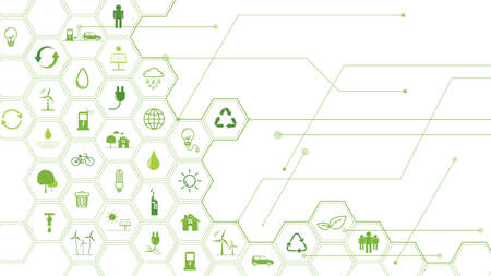 Green Business template and background for Sustainability concept with flat icons Ilustracja
