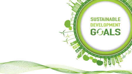 Sustainable development goals with Green Business template and background, vector illustration