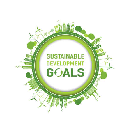 Sustainable development goals template frame and background, Vector illustration