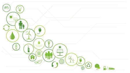 Green Business template background for Sustainability concept with flat icons