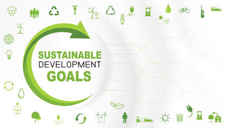 Sustain and Green Business template background for Sustainable development goals concept