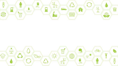 Green Business template and background for Sustainability concept with flat icons 矢量图像