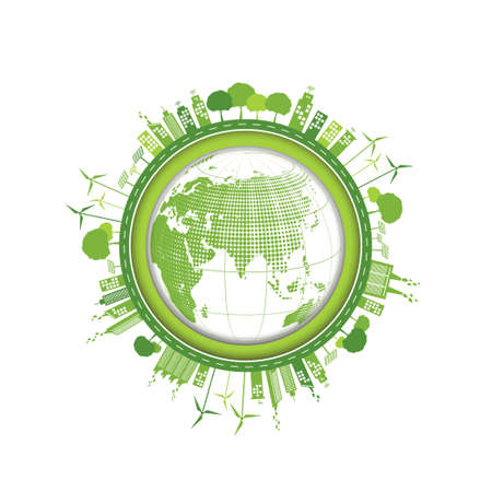 World Environment and Green city design for sustainability and Eco friendly concept, Vector illustration
