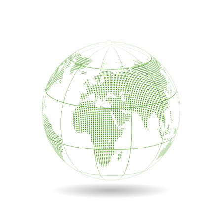 Green globe design with dot and line, Vector illustration