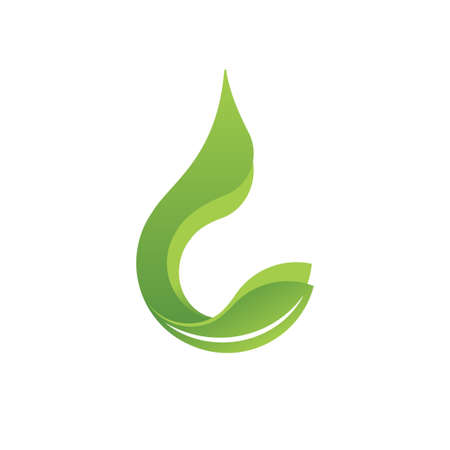 Logo icon design elements with green leaf and water dew for eco friendly or sustainable concept, Vector illustration 矢量图像
