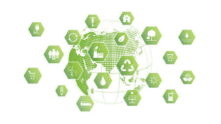 Global Green Business template and background for Sustainability concept with flat icons