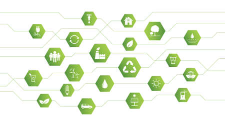 Global Green Business background for Sustainability concept with flat icons, vector illustration